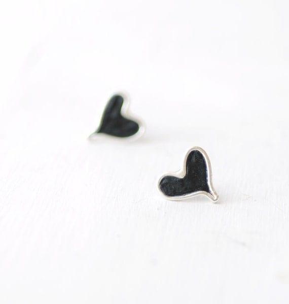 Black Heart Stud Post Earrings, Sterling Silver Artisan Jewelry...