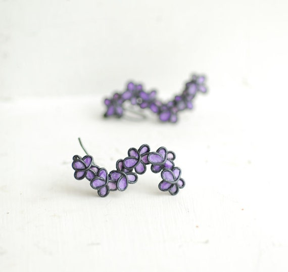 Lavender Lilac Forget Me Not Flower Earrings Sterling Silver Dangle, 1st 4th Anniversary Gift Paper Jewelry Best Friend Long Distance Wife