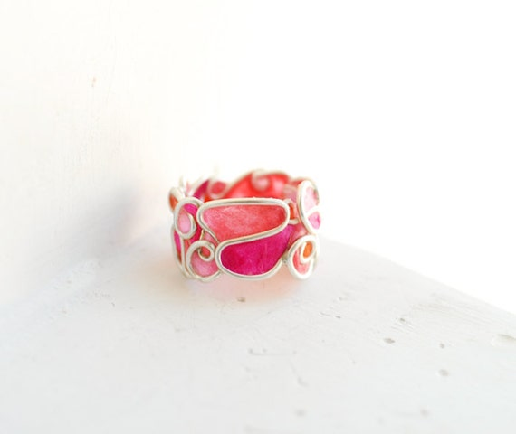 Reserved....., Statement Ring Pink and Orange in Sterling Silver, Paper Artisan Wearable Art Jewelry....