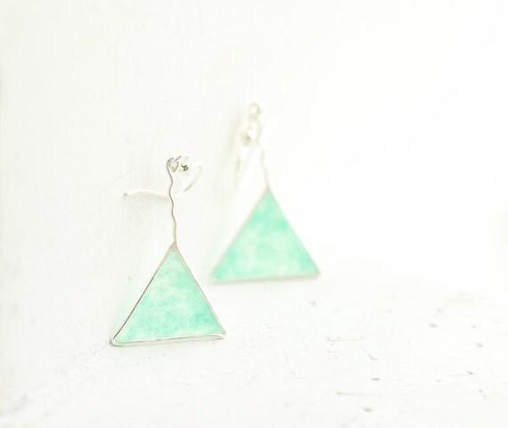 Mint Green Earrings, Triangle Earrings, Geometric Jewelry