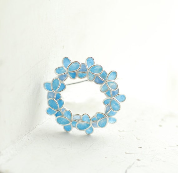 Something Blue Forget Me Not Flower Brooch Pin, 1st Anniversary Gift Paper Jewelry Botanical Summer Wedding Mother of the Bride Wedding Gift