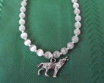 Grey Cats Eye Necklace with Wolf Charm