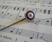 Antique Hat Pin: 1890 to 1920 Ivory Celluloid or Bakelite and Rhinestone Red Marks the Spot Scarf or Ascot Pin