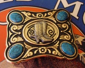 Cowgirl Boots - Rodeo Girl Faux Inlay Turquoise Belt Buckle from the 1970s