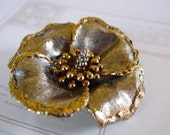 Signed ART - Hibiscus Flower Gold and Silver Heirloom Brooch