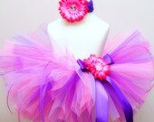 Gum Drop Princess SEWN Tutu--AS SEEN ON THE VIEW--sizes nb\/5--matching headband with flower clip included