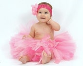 Wee Ones Sweet As Candy SEWN tutu--AS SEEN ON THE VIEW--sz nb\/2--matching headband with flower clip included