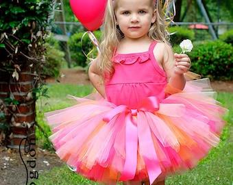 Orange Pink Tutu for Girls, Baby, Toddler - Birthday Tutu for sizes newborn through toddler girls