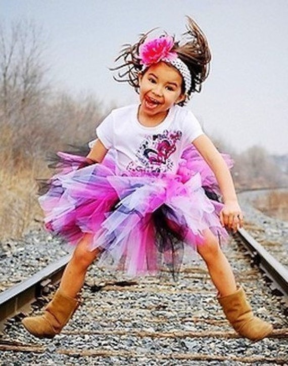 Punk Rock Princess Sewn Tutu and matching headband with flower clip sizes 2 through 5 speedy shipping