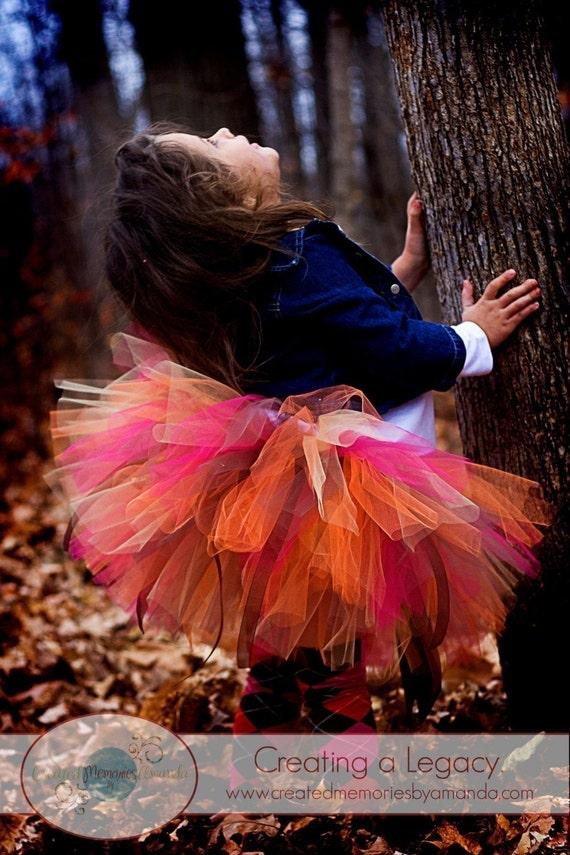 Fall  Tutu -  sewn tutu set - perfect for fall portraits, thanksgiving, 1st birthday