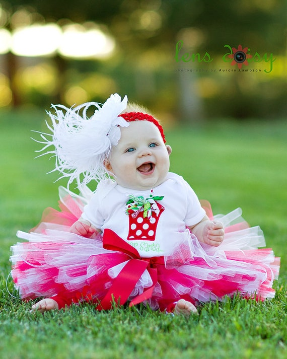 Candy Cane Christmas Tutu Set - sewn tutu and headband - toddler girl sizes 2 thru 5