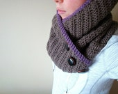 the tindra cowl in TAUPE (dusty purple accent, vegan friendly)