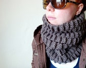 the basketweave cowl in TAUPE (vegan friendly)