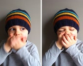 kids knit beanie in NAVY STRIPES (vegan friendly)
