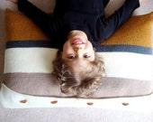 knit pillow cover in RUSTIC STRIPES - vegan friendly - (ooak)