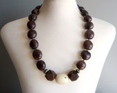 seed bead and tagua nut necklace in WHITE (ooak)