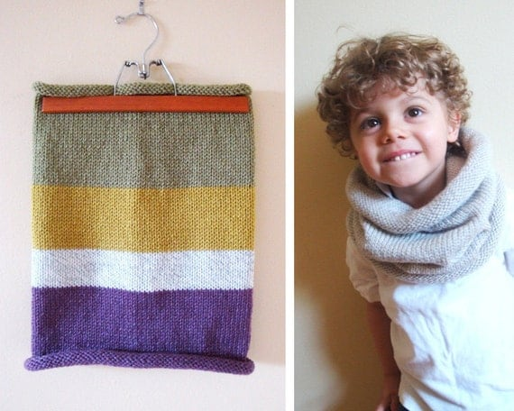 kids vegan friendly barrel cowl in GREEN and PURPLE (ooak)