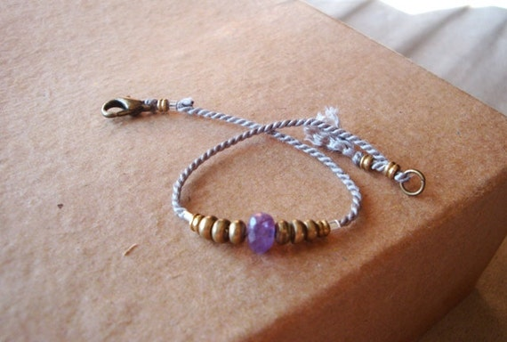 amethyst friendship bracelet in LILAC (brass and silver)