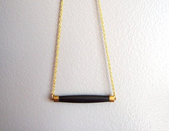 horn pendant bar necklace in BLACK (ooak)