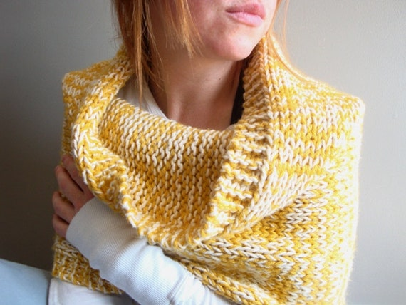 hand knit cowl in MUSTARD YELLOW - handmade - customized color option