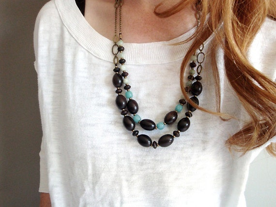 wood bead and gemstone necklace set in EBONY (ooak)