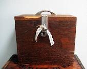 Vintage Time-worn Industrial Wooden Box with Metal Handle