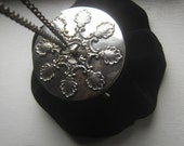 RESERVED    Antique 1900's Silver Gilt Compact Top Black Victorian Velvet Opera Purse w Chain handle
