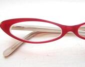 Wicked Slim Pointy Cat Eye Eyeglass Frames in Tramp Red