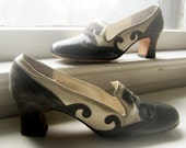 1950's Leather Suede Bloomingdale's Empire Gray Cream and Black Swirl Shoes Size 6 ish Etsy front page 2-11-12 yaye-ah