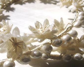 Pair 1950's Wax Wedding Wreaths Vintage Ivory White Flowers Head Band Bride & Groom