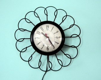 Late 50's Early 60's Black Metal Electric Retro Atomic Wall Clock USA