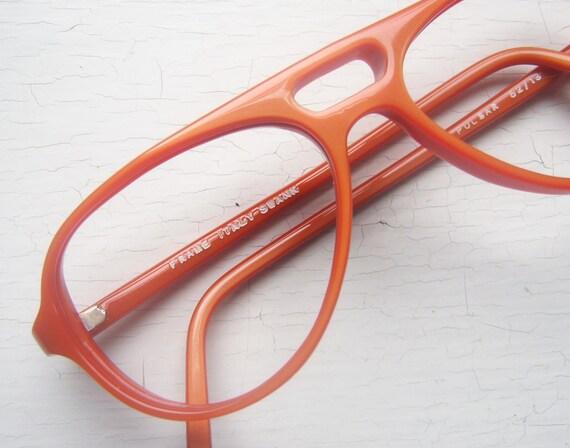 Vintage 70's Italian Aviator Eyeglass Frames in Orange
