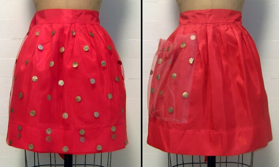 40's Reversible Red Apron w Red Tulle and Glitter Polka Dots