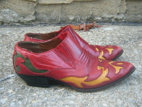 70's Cowboy Shoe Boots Size 8 wide Lizard Skin and Leather Red Green Gold Yellow FREE SHIPPING