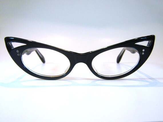 50s Xtreme Pointy French Cat Eye Eyeglass Frames in Black