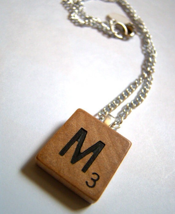 Scrabble Tile Initial Necklace - Choose any Letter
