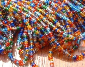 BEAD Rainbow Czech Glass size 11/o Multi Colored Transparent Seed Beads ( 6) 20 inch strands 1/2 hank