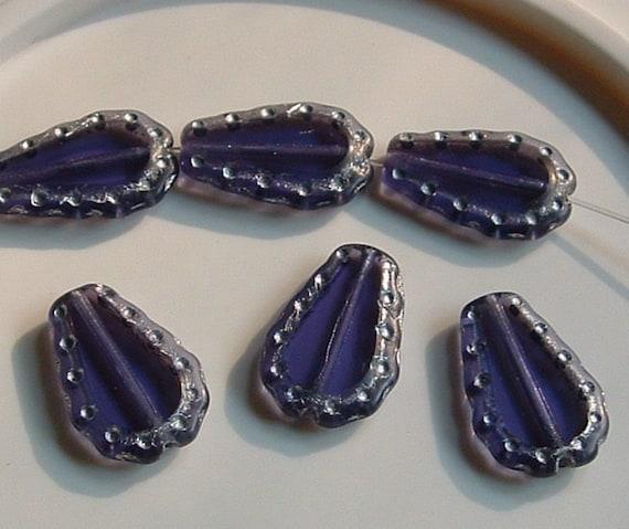 Vintage 15x11mm Czech Glass Flat PERIWINKLE Purple Flat Drop with Silver Edges - Vintage 1970s  (6) BEADS