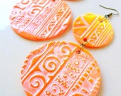 Yellow Orange Earrings African Tribal Jewelry Ethnic Jewerly Fire Summer stoneandbone Hawaii