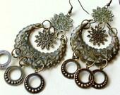 Bohemian Gyspy Earrings Brass Filigree Belly Dancing Tribal Jewelry Hawaii stoneandbone Summer Fashion Trend