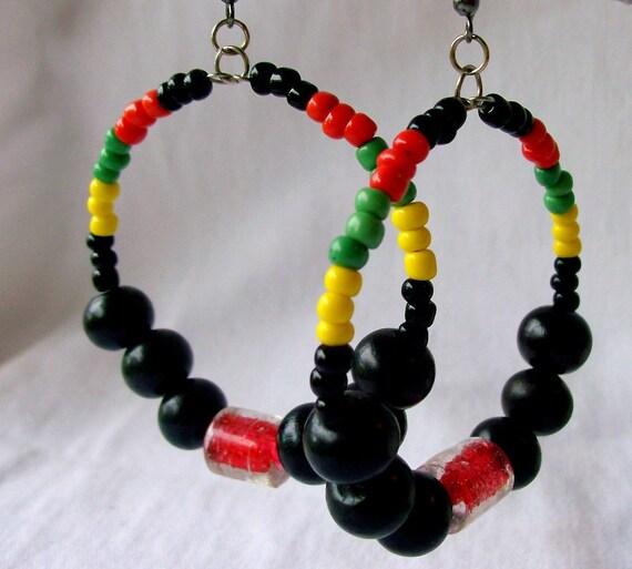 Rasta Reggae Hoop Earrings - wood Jewelry - Red, Yellow, Green, Black - stoneandbone