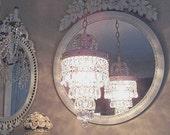 Jeweled Vintage Crystal Rose Wedding Cake Chandelier