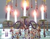 Exotic Vintage Purple and Green Palm Leaf Chandelier