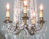Most Exquisite Petite French Brass and Crystal Chandelier