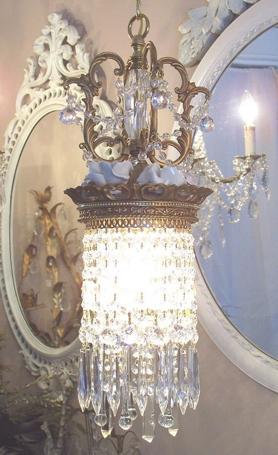 Jeweled Crystal Waterfall Crown Pendant Chandelier