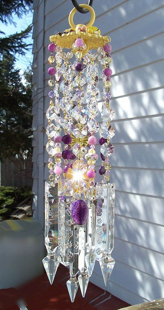 Jeweled Violets and Daffodils Antique Crystal Wind Chime