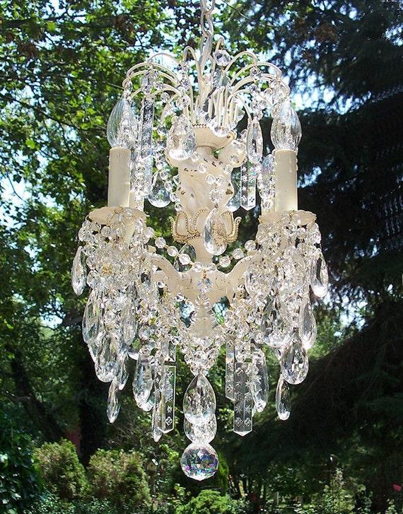 Precious Jeweled Shabby Vintage Cherub Waterfall Crystal Chandelier