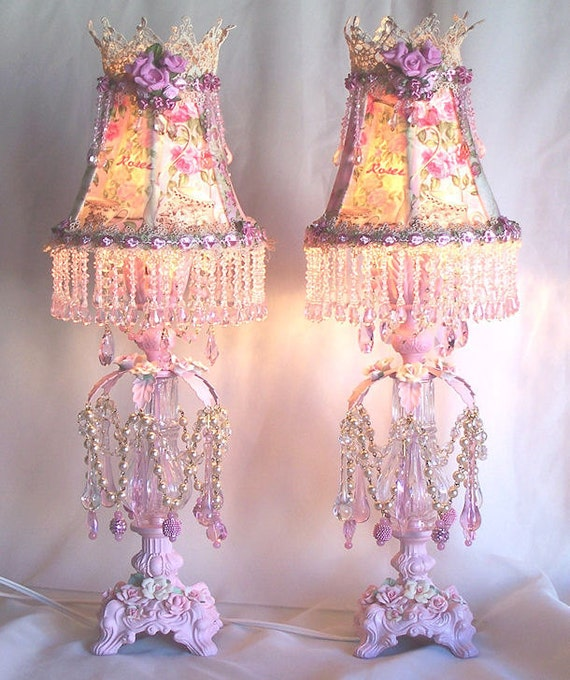 Shabby French Vintage Pink Roses Boudoir Lamp And Shade
