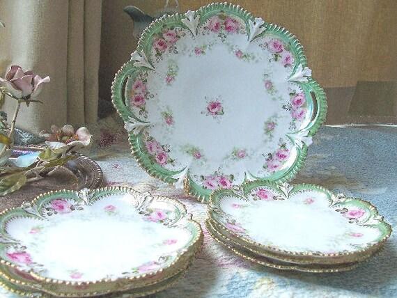 RS Prussia Aqua with Pink Roses Dessert Set
