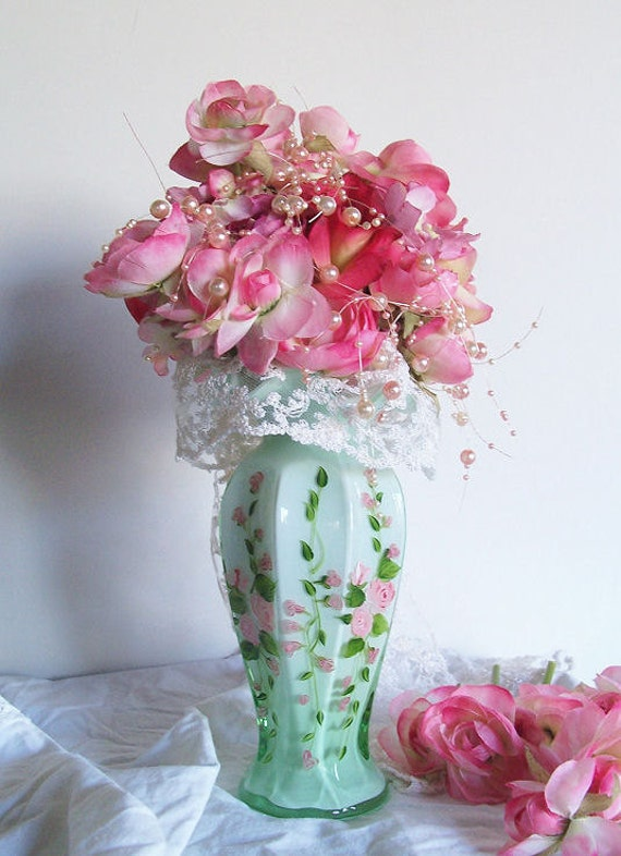 Vintage Fenton Green Glass Overlay with Hand Painted Pink Roses Vase